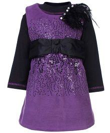 Kittens Party Frock Front Sequin And Fur Motif - Wine Colour