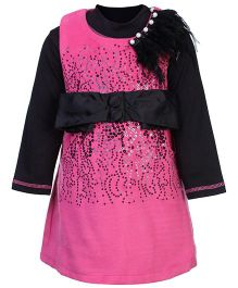 Kittens Party Frock Front Sequin And Fur Motif - Pink