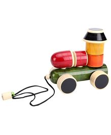 Dovetail Assembly Train Engine Wooden Toy - Multi Color