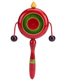 Dovetail Plate Rattle Wooden Toy Red And Green - Length 22 cm