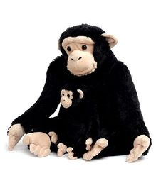 Animal Planet Soft Toy Mommy With Baby Chimp Black - Height 65 cm