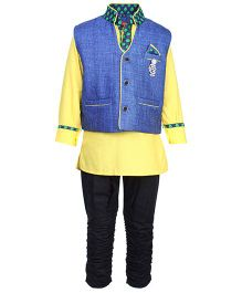 Active Kids Wear Three Piece Ethnic Clothing Set - Yellow And Blue