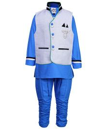 Active Kids Wear Three Piece Ethnic Clothing Set - Off White And Blue
