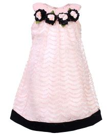 Kittens Sleeves Party Frock - Floral Applique
