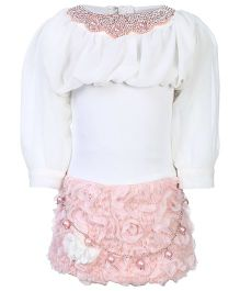 Kittens Party Dress - Stone And Pearl Work