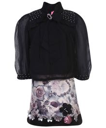 Kittens Top And Skirt With Inner Floral Design - Black