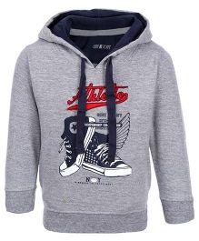 Gini & Jony Full Sleeve Hooded Sweatshirt - Grey