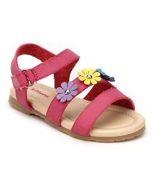 Kittens Sandal With Velcro Closure Pink - Floral Applique
