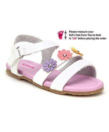 Kittens Sandal With Velcro Closure White - Floral Applique
