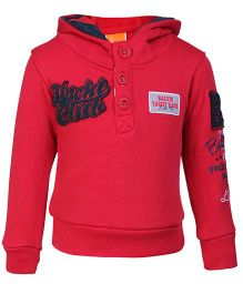 Little Kangaroos Full Sleeves Hooded Sweatshirt Red - Yacht Club Patch