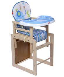 Fab N Funky Baby Wooden High Chair Blue - Elephant Print