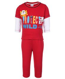 Child World Full Sleeves T-Shirt And Pants Protect Wild - Red