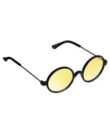 Spiky Round Sunglasses - Black And Yellow