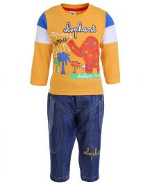Cucumber Full Sleeves Top And Jeans - Elephant Embroidery