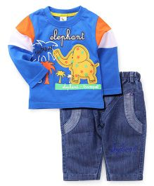 Cucumber Full Sleeves T-Shirt And Jeans - Elephant Embroidery