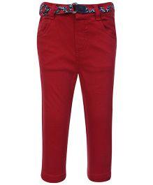 Beebay Twill Lycra Trouser With Belt - Dark Maroon