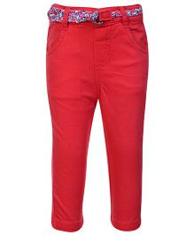Beebay Twill Lycra Trouser With Belt - Red