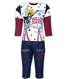 Cucumber Doctor Sleeves T-Shirt And Denim Pant Maroon - Roller Coaster Print