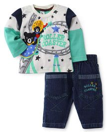 Cucumber Doctor Sleeves T-Shirt And Denim Pant Green - Roller Coaster Print