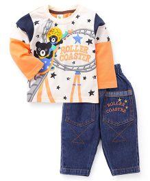 Cucumber Doctor Sleeves T-Shirt And Denim Pant Orange - Roller Coaster Print