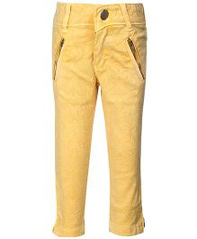 Leo N Babes Ankle Pants Lemon Yellow - Floral Pattern