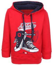 Gini & Jony Full Sleeves Hooded Sweatshirt - Athletic Print