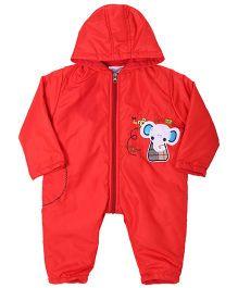Peridot Full Sleeves Hooded Romper - Baby Elephant Patch