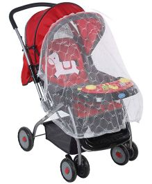 Baby Musical Pram With Mosquito Net Horse Print Red And Black - 709E