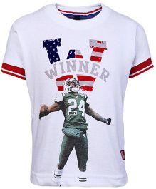 Ruff T-Shirt Half Sleeves White - Winner Print
