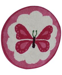 Fly Frog Room Mat Pink and White - Butterfly