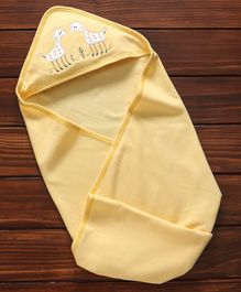 Child World Hooded Wrapper With Giraffe Patch - Yellow