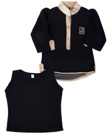 Lemonmint Full Sleeves Kurta Style Top With Inner - Black