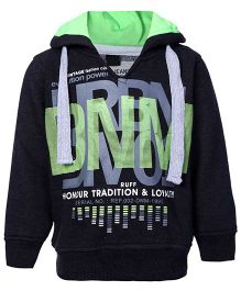 Ruff Full Sleeves Hooded Sweatshirt Black - DNM Print