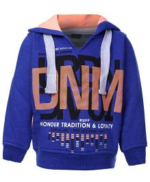 Ruff Full Sleeves Hooded Sweatshirt Black - DNM Print