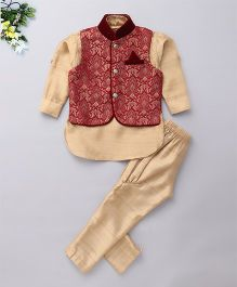 Little Bull Three Piece Ethnic Clothing Set - Maroon And Cream