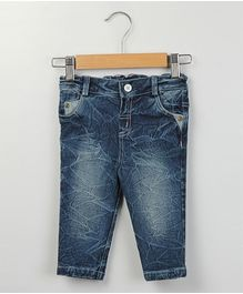 Beebay Crush Texture Wash Denim Trouser - Denim Blue