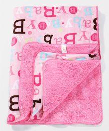 Babyhug Blanket Alphabet Print - Pink