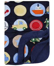Babyhug Baby Blanket Vehicle Print - Navy Blue
