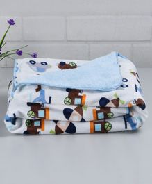 Babyhug Sherin & Poly Wool Blanket Multi Vehicle Print - Blue