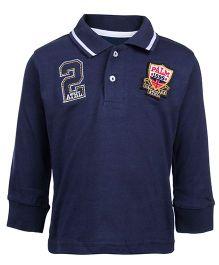Palm Tree Full Sleeves Polo T-Shirt - Navy Blue