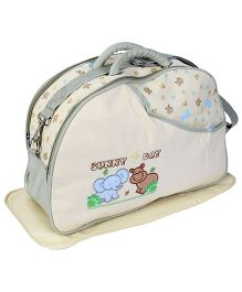 Fab N Funky Mother Bag Set Elephant And Hippo Print - Cream