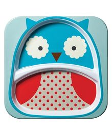 Skiphop Zoo Divided Plate Blue N Red - Owl Design