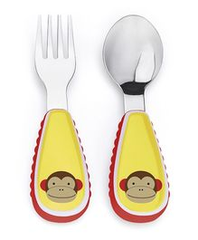 Skiphop Zoo Utensil Spoon And Fork Set - Monkey Print