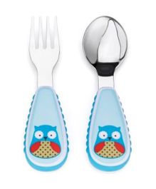 Skiphop Zoo Utensil Spoon And Fork Set - Owl Print