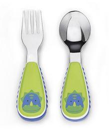 Skiphop Zoo Utensil Spoon And Fork Set - Dinosaur Print