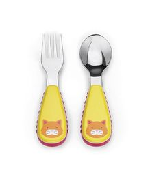 Skiphop Zoo Utensil Spoon And Fork Set - Cat Print