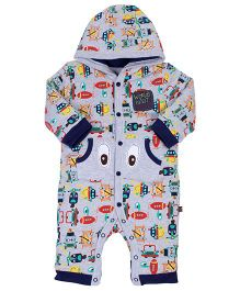 FS Mini Klub Full Sleeves Hooded Romper - Vehicle Print