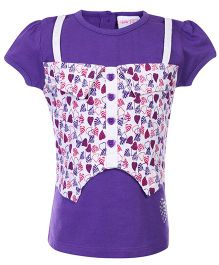 FS Mini Klub Short Sleeves Top Heart Print - Violet