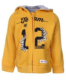 FS Mini Klub Full Sleeves Hooded Front Open Sweatshirt - Yellow