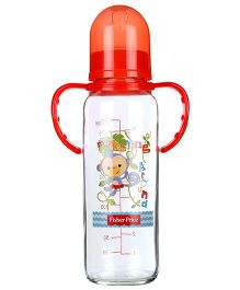 Fisher Price Baby Glass Feeding Bottle With Handle - 8 Oz